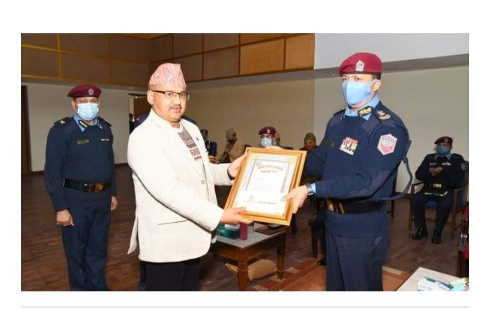 बेरुजु फर्छ्यौटमा नेपाल प्रहरी सर्वोत्कृष्ट SSP थापा पुरस्कृत