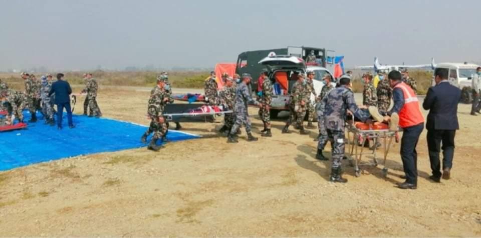 नेपालगञ्ज एयरपोर्टमा विमान दुर्घटनाको कृत्रिम अभ्यास जारी