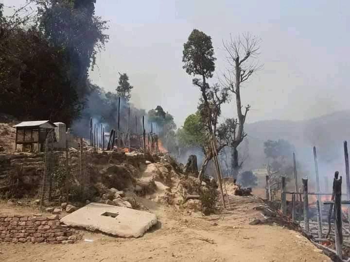 दाङको देउखुरी राजपुरमा आगलागी हुँदा लाखौंको नोक्सान
